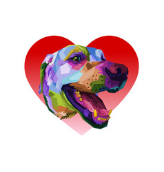colorful labadror dog in love heart logo element vector image