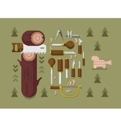 Concept woodcarving vector