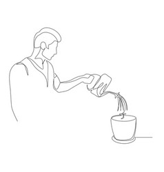 continuous one line man is watering a plant in a vector image