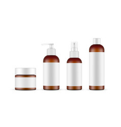 cosmetic amber bottles mockups with labels vector image