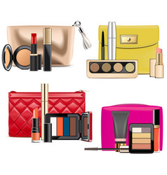 Cosmetic bags with makeup vector