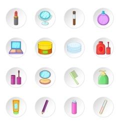 Cosmetics items icons set vector