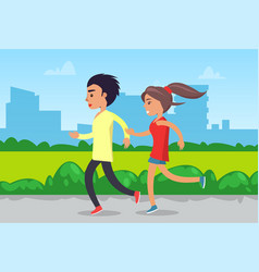 Couple running or jogging in park sportswear vector