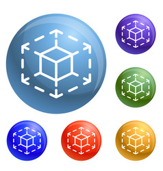 cube space icons set vector image