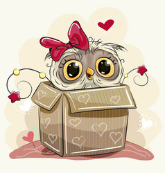 Cute cartoon owl girl and a box vector