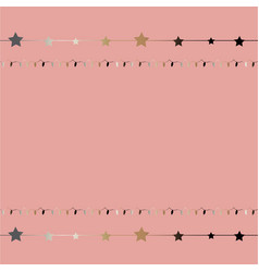 Cute frame with golden stars on stripes on modern vector