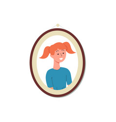 cute girl cartoon character in photo frame flat vector image