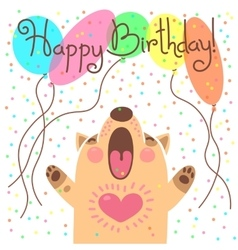 Cute happy birthday card with funny puppy vector