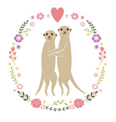 Cute meerkats vector