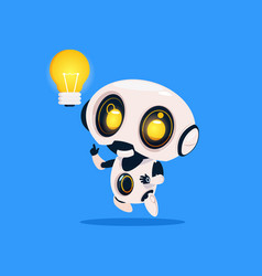 cute robot hold light bulb isolated icon on blue vector image