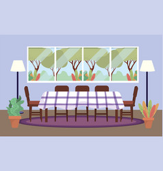 diving room with table and plants decoration vector image