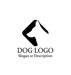 dog wolf logos minimalist black icon - isolated vector image