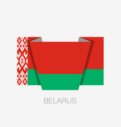 Flag of belarus flat icon waving flag with vector