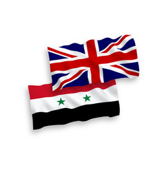 flags syria and great britain on a white vector image