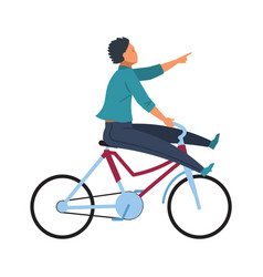 fun man on bike young adult happy cycle riding vector image