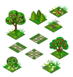 Garden or farm isometric tile set vector
