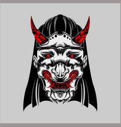 Geometric japanese devil kunoichi geicha vector