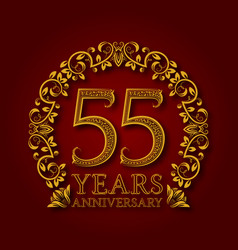 golden emblem of fifty fifth years anniversary vector image