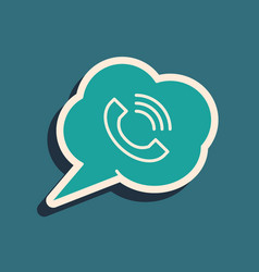 Green speech bubble with phone call icon isolated vector