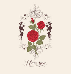 greeting card with inscription i love you vector image