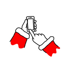 hand of santa claus holding mobile smart phone vector image