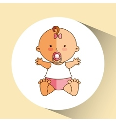 Happy baby girl pacifier icon graphic vector