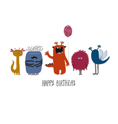 Happy birthday greeting card with spooky monsters vector