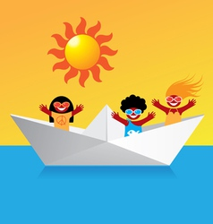 happy boat people vector image