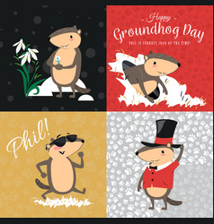 happy groundhog day set cute marmot in cylinder vector image