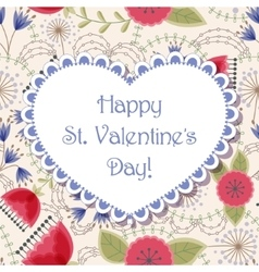 Happy St valentines day floral card vector