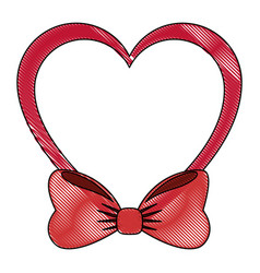 Heart with bow icon vector