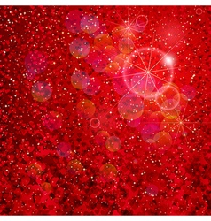 Hearts and stars falling on the shiny red vector image