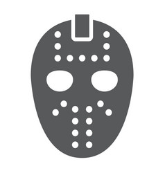 Hockey mask glyph icon helmet and mask vector