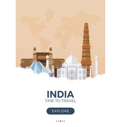 India time to travel travel poster flat vector