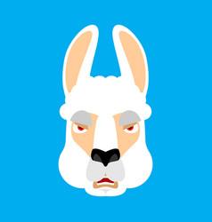 lama alpaca angry face avatar animal evil emoji vector image