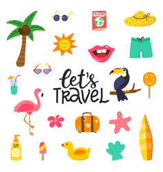 Lets travel hand drawn quote with summer elements vector