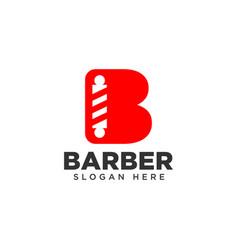 Letter b barbershop logo design vector