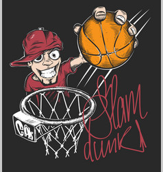 Mad basketball slam dunk t-shirt print design vector
