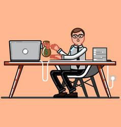 Man freelancer get money vector