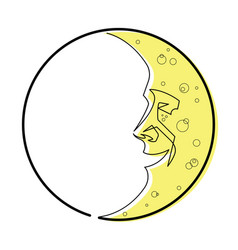 man in the moon continuous line vector image