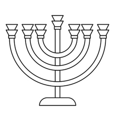 Menorah icon in outline style vector