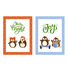 Merry and bright joy posters with greeting set vector