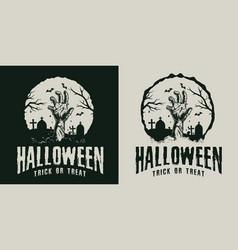 Monochrome vintage halloween label vector