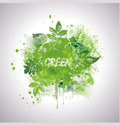 nature background with green ink blots and fresh vector image