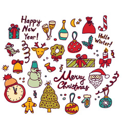 new year christmas isolate objects set vector image
