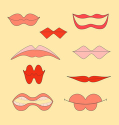outlined women lips icons on the color background vector image