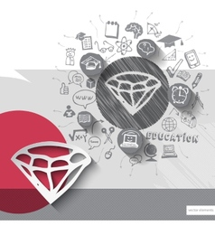 Paper and hand drawn diamond emblem with icons vector