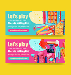 Playground banner design with bench slide springy vector