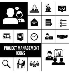 Project management icons black set vector