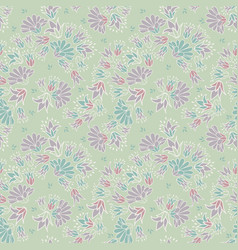 Purple green pastel colored ditsy flowers seamless vector